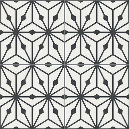 White Encaustic tiles Damask