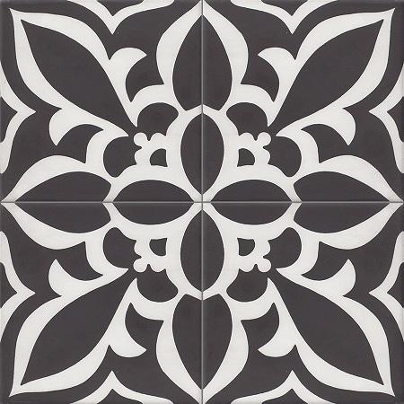 Black Cement tiles Damask