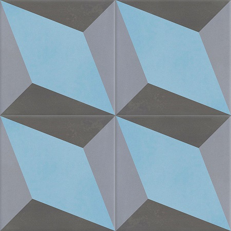 Blue Encaustic tiles Damask