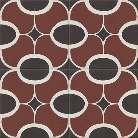 Red Cement Tiles Damask
