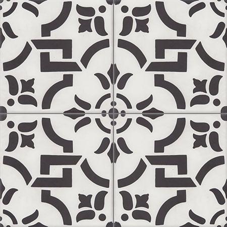 White Cement Tiles Damask