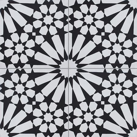 Black Handmade Cement Tiles Damask
