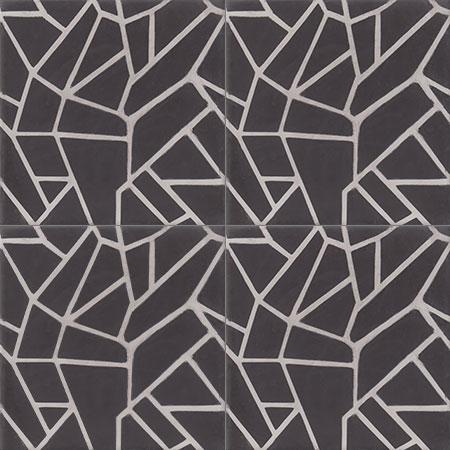 Black Encaustic tiles Damask