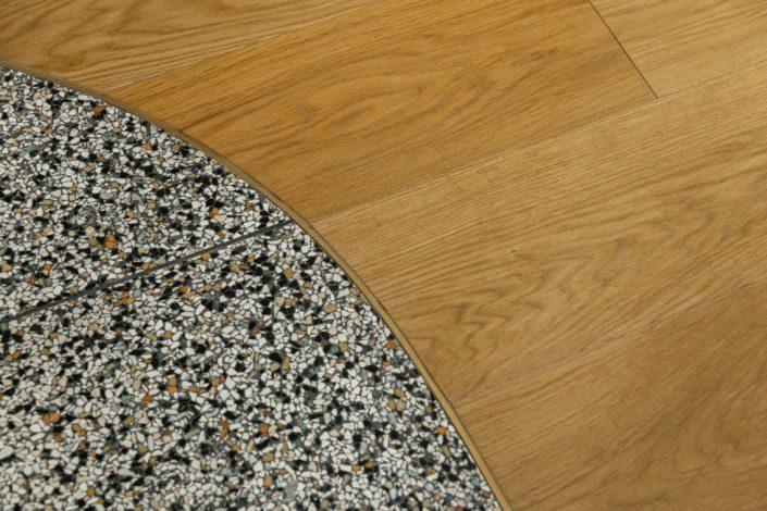 Katoikia Thessaloniki_Mosaika Dapeda_Wooden floor detail_Damask