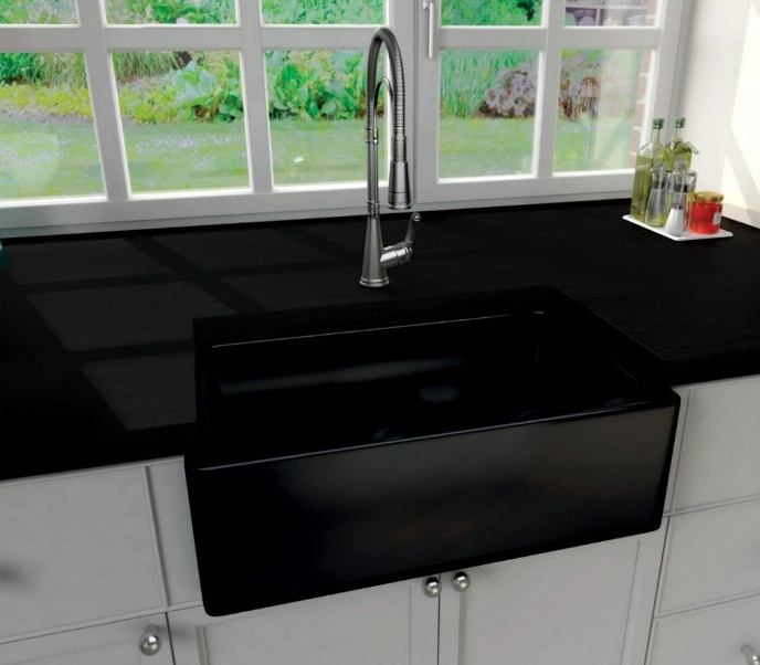 fireclay kitchen sink_Farmhouse black_Damask_7