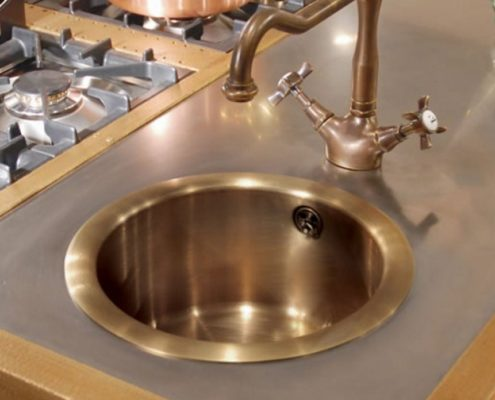 metal kitchen sink_Damask_burnished brass_7