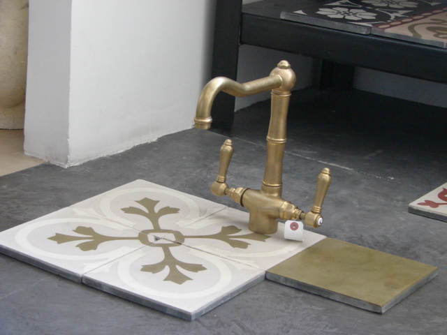 faucet and handmade tile Damask